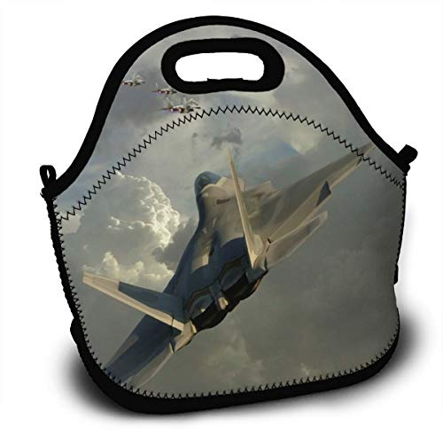 Insulated Lunch Bag - Dogfight Jet Fighter Reusable Lunch Tote Lightweight Shoulder Bag with Adjustable Shoulder Strap Mom Bag for Kids Adults in Office, School Or Outdoor Travel Picnic