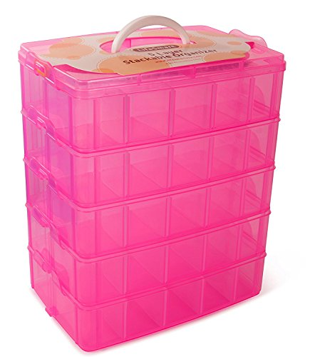 LifeSmart USA Stackable Storage Container Pink - 50 Adjustable Compartments - Store More Than All Other Cases - Lego Dimensions - Shopkins - Littlest Pet Shop - Arts and Crafts - And More!