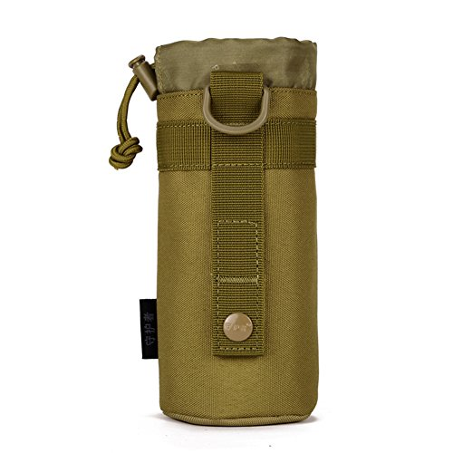 CREATOR Adjustable Tactical Water Bottle Pouch Foldable MOLLE Water Bottle Holder Attachment Carrier for Backpack/Waist Bag/Belt - Brown