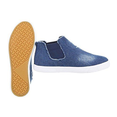Ital-Design Sneakers High Damenschuhe Sneakers High Sneakers Freizeitschuhe Blau