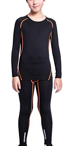 EU Boys Athletic Stretch Compression Tights Shirts Sports Sets Quick Dry Soft Baselayer Football Training Sets Black Orange Size 12 by EU