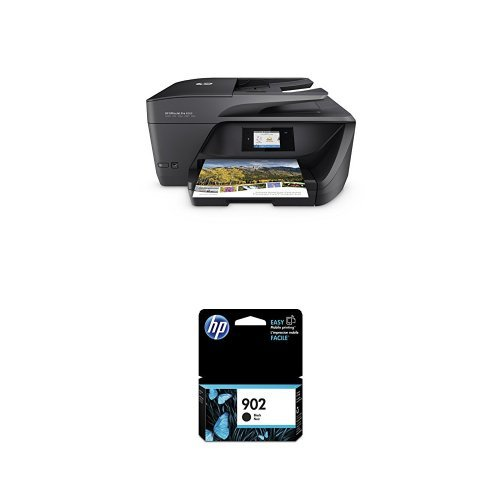 Automatic Two Sided Printing Accessory - HP OfficeJet Pro 6968 Wireless All-in-One Photo Printer with Mobile Printing, Instant Ink ready (T0F28A) and HP 902 Black Original Ink Cartridge (T6L98AN#140) Bundle
