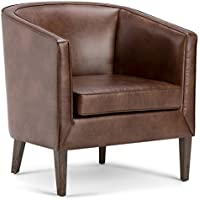 Simpli Home Mitchum Tub Chair, Distressed Brown