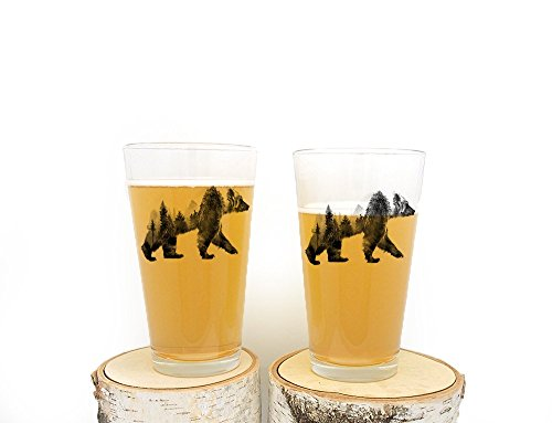 Double Exposure Bear Pint Glasses- Screen Printed Pint Glasses - Set of Two 16oz. Pint Glasses