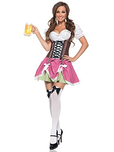 Oktoberfest Germany Costumes (Mystery House Swiss Girl Costume, Brown/Fuschia, X-Large)