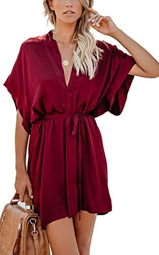 Angashion Women's Dresses- Casual Floral Deep V Neck Short Sleeve Tie Waist Mini Skater T Shirt Dress 031 Wine Red M