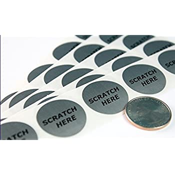 """Silver 1"""" Round with """"Scratch Here"""" (Quarter size) Circle Scratch-off Stickers Self Peel & Stick DIY Labels - Package of 100 My Scratch Offs"""