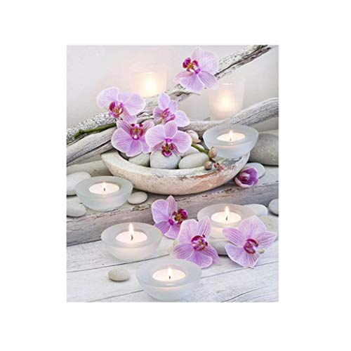(DIY 5D Diamond Painting,Dartphew Beautiful pink flowers & prayer candles - Crafts & Sewing Cross Stitch,Wall Stickers for Decoration Home Living Room (Creative,Size:30x35cm))