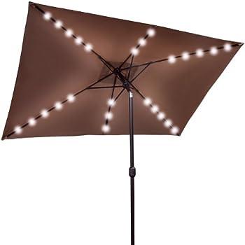 this item brownnew outdoor solar powered 26 led lights patio umbrella rectangle sunshade - Rectangular Patio Umbrella