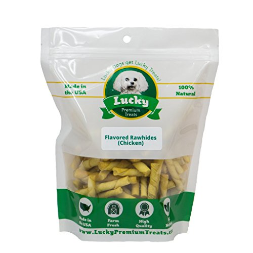 Lucky Premium Treats Healthy Chicken Flavored Rawhide Dog Chews for Toy Size Dogs Made in the USA Only by, 70 Chews