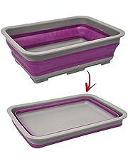 Palangana plegable de silicona y plástico, con un diseño sencillo y abatible para camping, barco y viajes