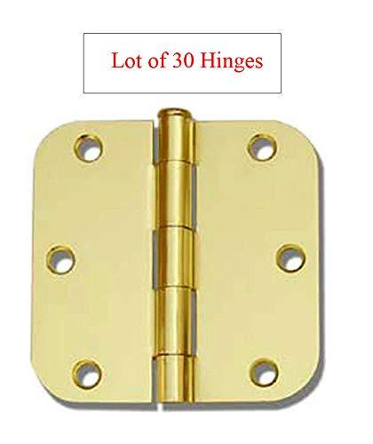 (30 Pack Polished Brass 3.5' x 3.5' 5/8 Radius Round Corner Interior Door Hinges)