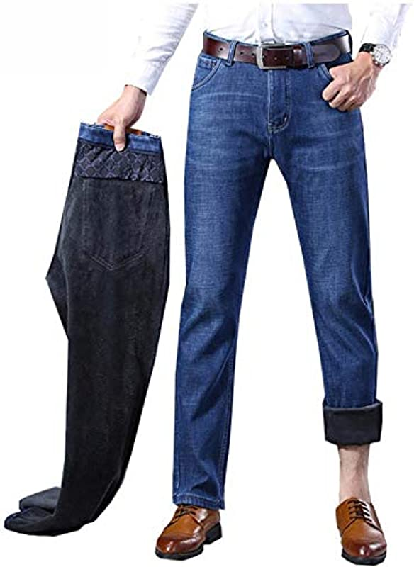 YANGPP Męskie Jeans Winter Warmer Jeans Gerade Blau Elastisch Verdicken Business Casual Jeans Jeans, Blau, 36: Sport & Freizeit