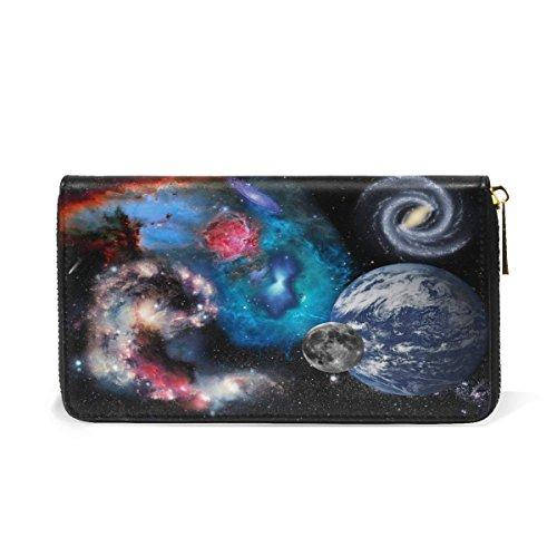 Cosmic Zipper Purses Passport Card Case Holder Leather Clutch Wallet And Handbag