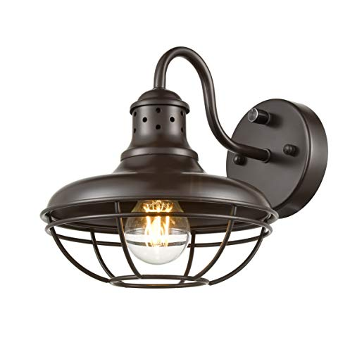 Dazhuan Industrial Plug-in Wall Sconce Light with On/Off Switch Farmhouse Cage Gooseneck Wall Sconce, Oil Rubbed Bronze