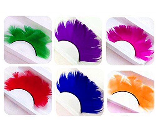 Homanda Solid Color 6 Pairs Deluxe Party Stage Feather False Eyelashes Eye -