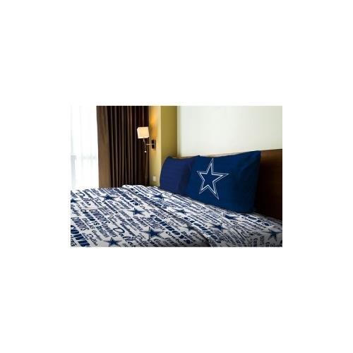 Northwest NOR-1NFL820010009WMT Dallas Cowboys NFL Twin Sheet Set - Anthem (Dallas Cowboys Twin Comforter)