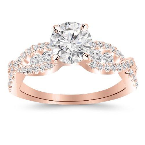 [1.26 Carat Designer Twisting Eternity Channel Set Four Prong Diamond Engagement Ring 14K Rose Gold with a 0.63 Carat J-K SI2-I1 Round Brilliant Cut/Shape Center] (Si2 Round Diamond Eternity Ring)