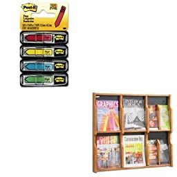 KITMMM684SHSAF5703MO - Value Kit - Safco Expose Adj Magazine/Pamphlet 6-Pocket Display (SAF5703MO) and Post-it Arrow Message 1/2amp;quot; Flags (MMM684SH)