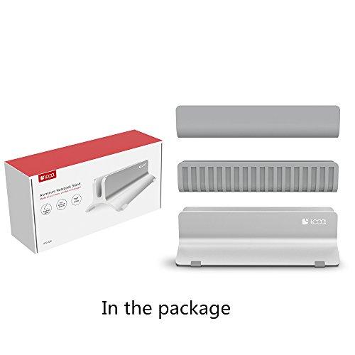 Vertical Laptop Stand, LOCA Aluminium Desktop Stand for Apple MacBook, notebooks (Silver) … Photo #10