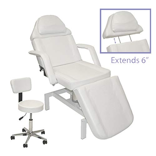 - White Hydraulic Adjustable Facial & Massage Bed with FREE Matching Technician Stool