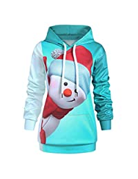 Christmas Sweatshirts Hoodie Women KIKOY Xmas Long Sleeve Cute Snowman Pullover