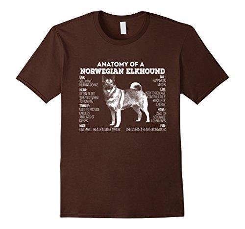 Mens Anatomy of a Norwegian Buhund T-shirt 2XL Brown