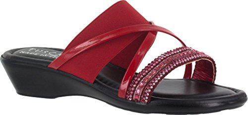 Easy Street Womens Velino Open Toe Casual Platform Sandals Red Patent/Stretch Synthetic MQQ2r