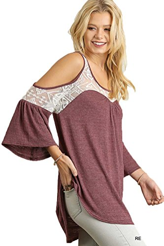 umgee-womens-lace-trimmed-cold-shoulder-top-in-fall-colors-l-red-bean