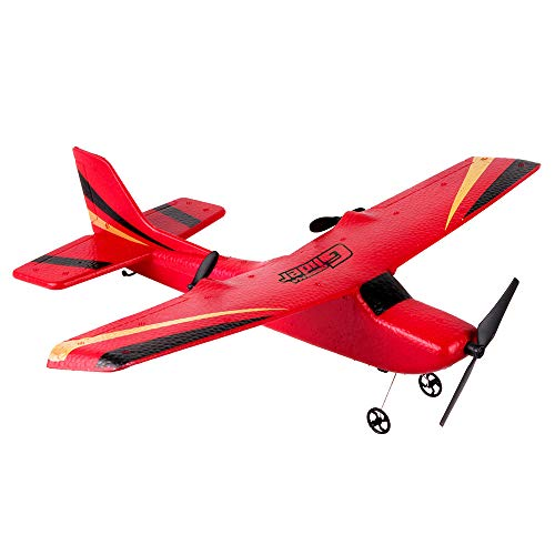 EPO 2.4G 2CH Airplane Fixed Wing Glider Wingspan 350mm RC EPP Composite Airplane Micro Indoor Aircraft RC Glider Plane Toy Adult Student Gift (Red)