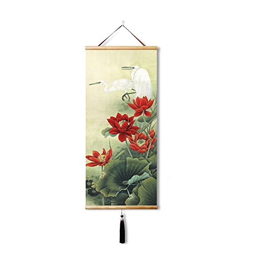 EAPEY Chinese Feng Shui Silk Hanging Painting Lotus and heron