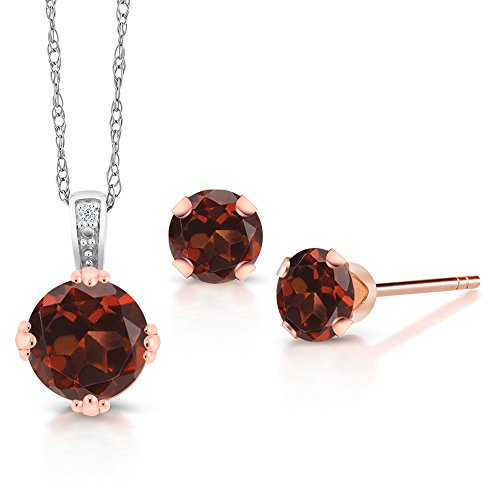 1.74 Ct Red Garnet and Diamond 10K Two Tone Gold Pendant Earrings Set (Two Pendants Tone Garnet)
