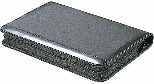 Cartella porta-documenti, con 8 scomparti (anche per carte di credito), raccoglitore a 4 anelli, blocco e calcolatrice, in finta pelle