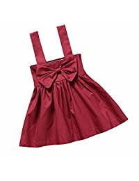 Summer Baby Girls Sunsuit Sleeveless Bowtie Wine Red Solid Dress Outfit