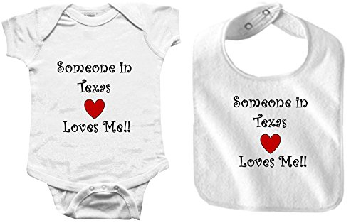 SOMEONE IN TEXAS LOVES ME - TEXAS BABY - 2 Piece Baby-Set - State-series - White Baby One Piece Bodysuit / Baby T-shirt and White Bib - size Small - Lubbock Women In