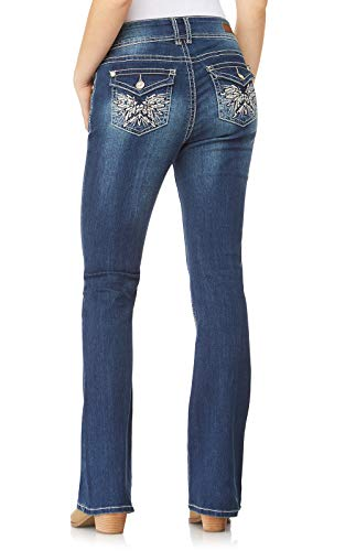 WallFlower Women's Juniors Luscious Curvy Embellished Pocket Bootcut Jeans in Twinkle, - Jeans Pants Rhinestone