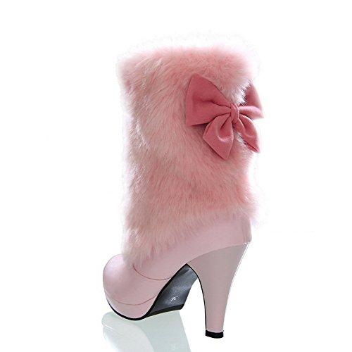 forme En Rouge Dames Stiletto D'or Bottes Filé Bowknot Plate Cuir Imitait 1to9 xtzwdUz