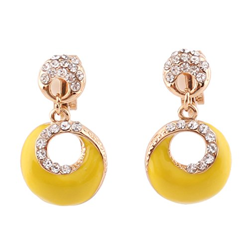 Grace Jun Gold Plated Rhinestone Enamel Round Shape Hollw-out Dangle Earrings for Women Ear Clip (Yellow clip-on)