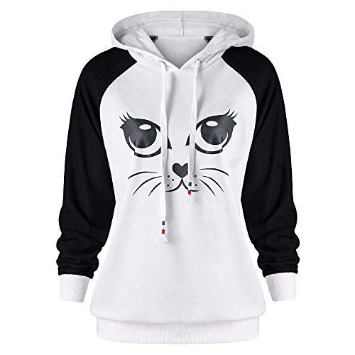 GOVOW Women's Decorations Long Sleeve for Living Room Cat Print Pocket Hooded Sweatshirt Pullover Tops(US:14/CN:XL,White)(US:14/CN:XXL,ZV-White) ()