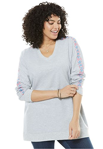 Embroidered Running Sweatshirt - Women's Plus Size Embroidered V-Neck Sweatshirt Heather Grey,30/32