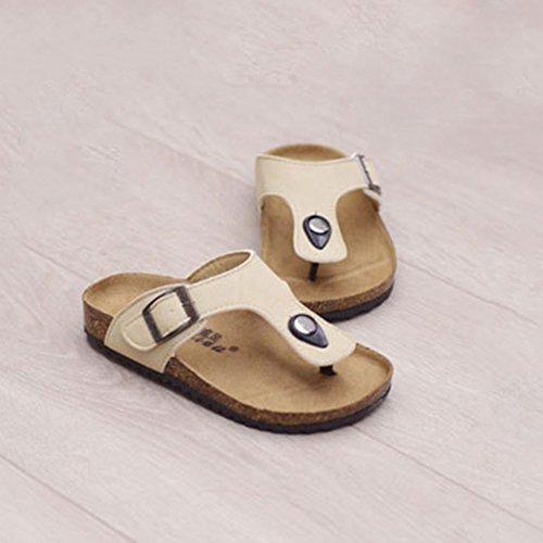 YipGrace Unisex-Kinder Pantoletten Kork Sandalen Flip Flops Seiten-Schnalle Verstellung Aprikose