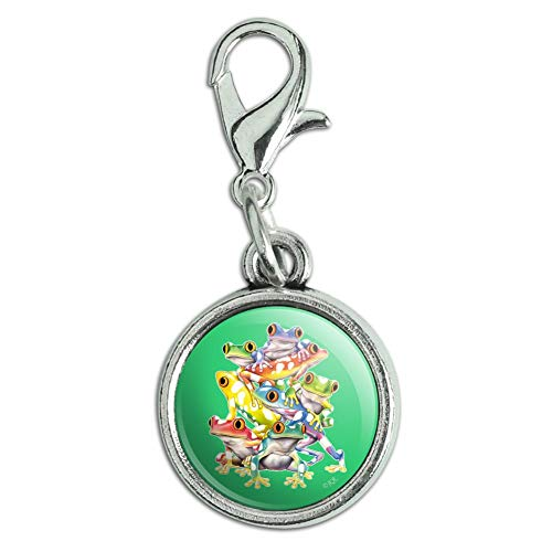 Graphics and More Tropical Rainforest Tree Frog Balancing Act Antiqued Bracelet Pendant Zipper Pull Charm with Lobster ()