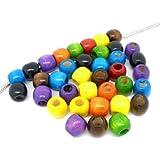 圆形彩绘多色木珠,带大孔 多种颜色 12mm CMS8782