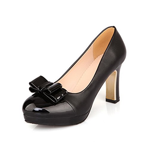 Allhqfashion Mujer's Charol Solid Pull On Round Closed Toe High Heels Bombas-zapatos Negro