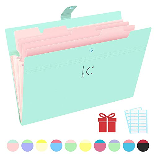 Phyxin Expanding File Folders 5 Pockets Document Organizer A4 Letter Size Plastic File Folder with Labels Document Holder for Business School Supplies Light Green
