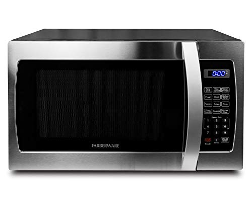affordable Farberware Professional FMO13AHTBKE 1.3 Cu. Ft. 1000-Watt, Microwave Oven with Blue LED Lighting, Stainless Steel