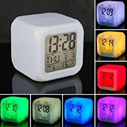 7 LED Color Change Growing Digital LCD Alarm Thermometer Clock Date Time Night