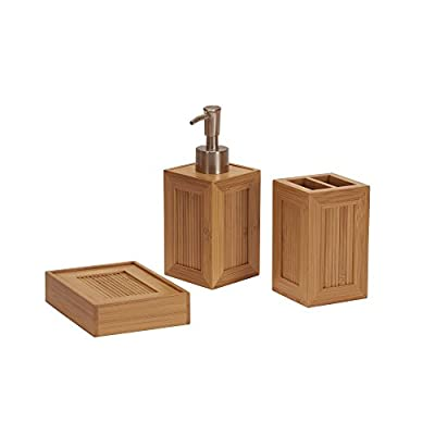 Household Essentials Bath 3 Piece Essential Bamboo Bathroom Vanity Accessory Set - 3 pc. Bamboo vanity organizer set with inset panels of vertical bamboo reeds Includes: liquid soap dispenser, toothbrush holder, and a bar soap dish Framed vertical Reed panels add visual texture - bathroom-accessory-sets, bathroom-accessories, bathroom - 41XZUs EYvL. SS400  -