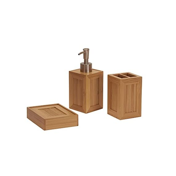 Household Essentials Bath 3 Piece Essential Bamboo Bathroom Vanity Accessory Set - 3 pc. Bamboo vanity organizer set with inset panels of vertical bamboo reeds Includes: liquid soap dispenser, toothbrush holder, and a bar soap dish Framed vertical Reed panels add visual texture - bathroom-accessory-sets, bathroom-accessories, bathroom - 41XZUs EYvL. SS570  -