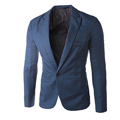 iYBUIA Charm Autumn Men's Casual Slim Fit One Button Suit Blazer Coat Jacket Tops Men Fashion(Deep Blue,XXXL)